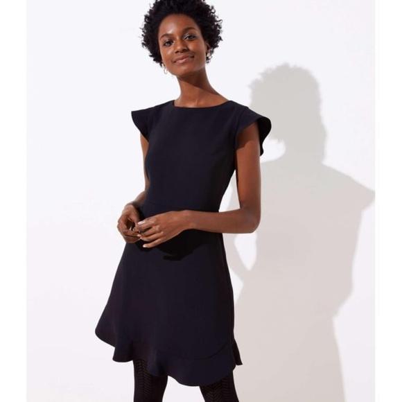 LOFT Dresses & Skirts - LOFT Flutter Flounce Black Dress